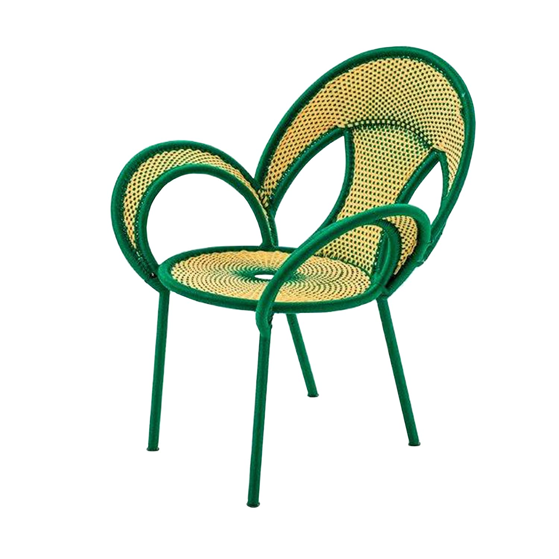 Banjooli Armlehnstuhl hellgelb/grün