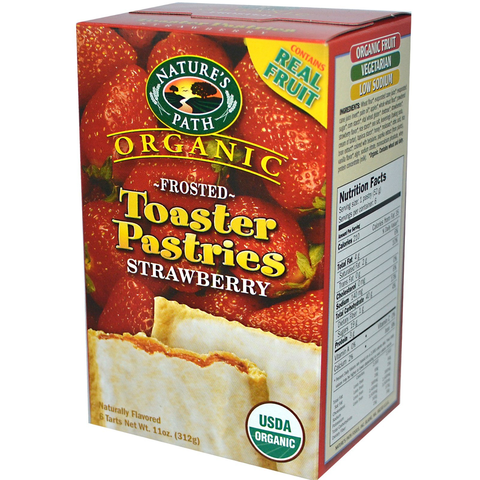 Nature's Path, Organic Frosted Toaster Pastries, Strawberry, 6 Tarts, 52 g Each - 3PC