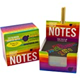 Rainbow Scratch Off Mini Notes + 2 Stylus Pens: 150 Sheets of Black Note Paper with Rainbow drop background for Kids Art and Craft Projects, Doodling & Lists