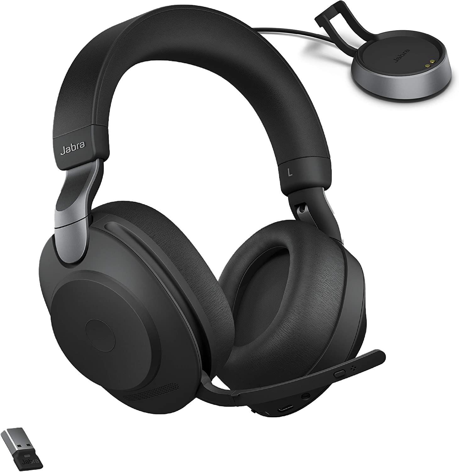 Jabra Evolve2 85 UC Wireless Headphones with Link380a & Charging Stand, Stereo, Black – Wireless Bluetooth Headset for Calls and Music, 37 Hours of Battery Life, Advanced Noise Cancelling Headphones