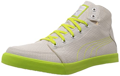 910ac788c91 Puma Men s Drongos DP Gray Violet-Lime Punch-White Mesh Running Shoes - 10UK