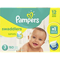 Diapers Size 3 - Pampers Swaddlers Disposable Baby Diapers, 160 Count, Economy Pack Plus