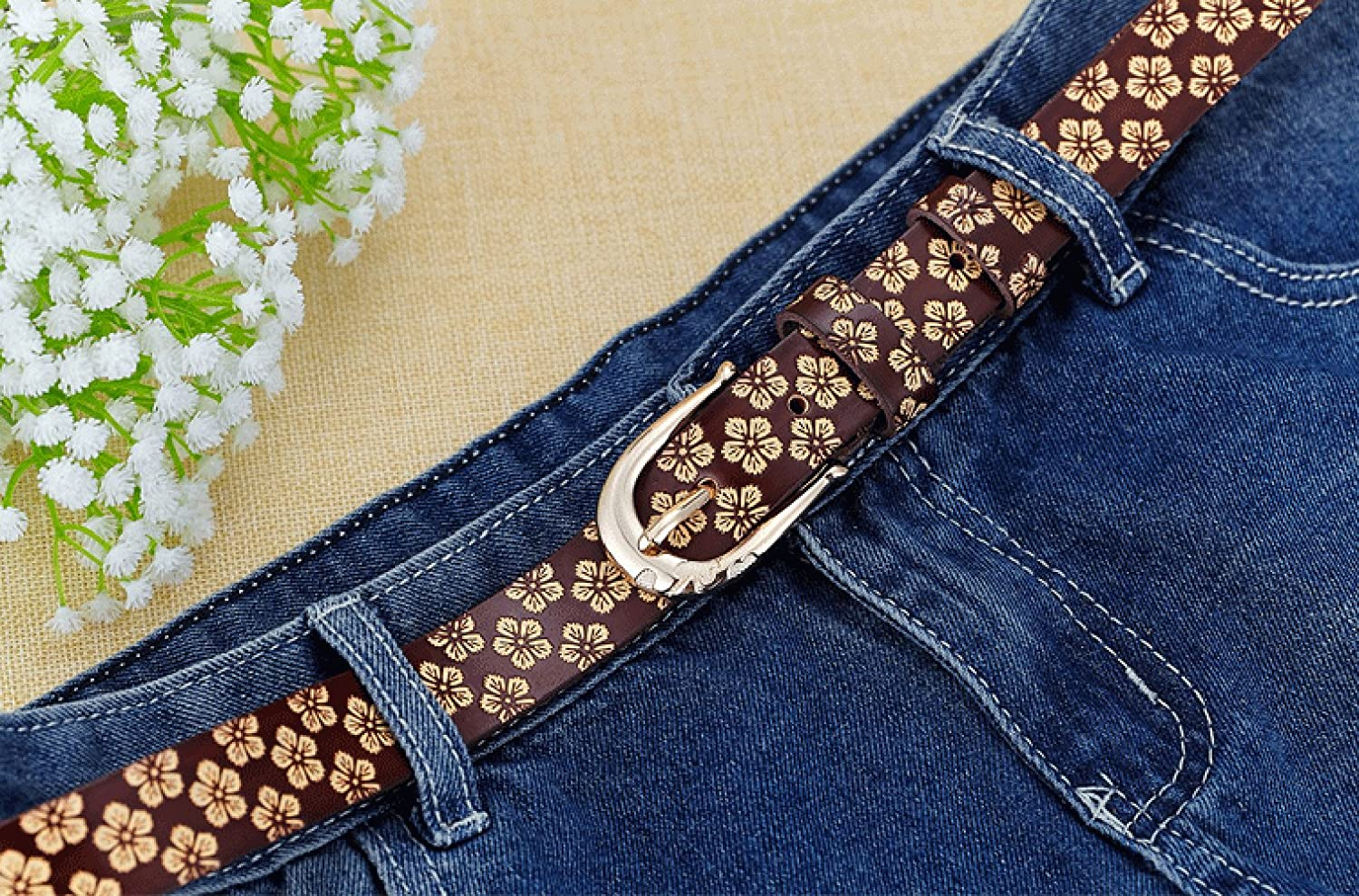 E-Clover Womens Pretty Skinny Floral Carved Jean Belt Gold Tone Buckle