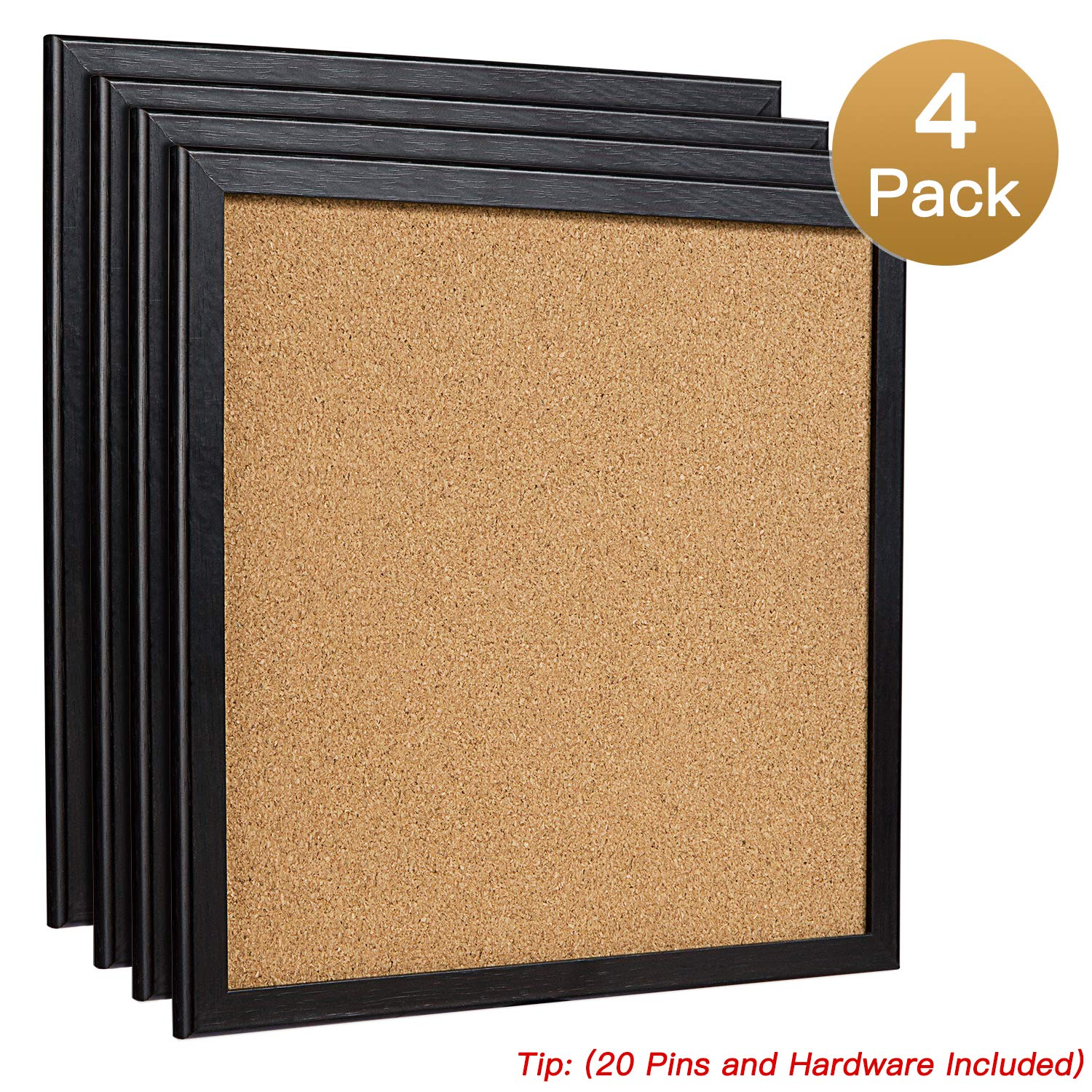 HBlife Cork Board Bulletin Board 12'X 12' Square Wall Tiles,Modern Black Framed Corkboard for School, Home & Office (Set Including 20 Push Pins,Hardware and Template) HB-life