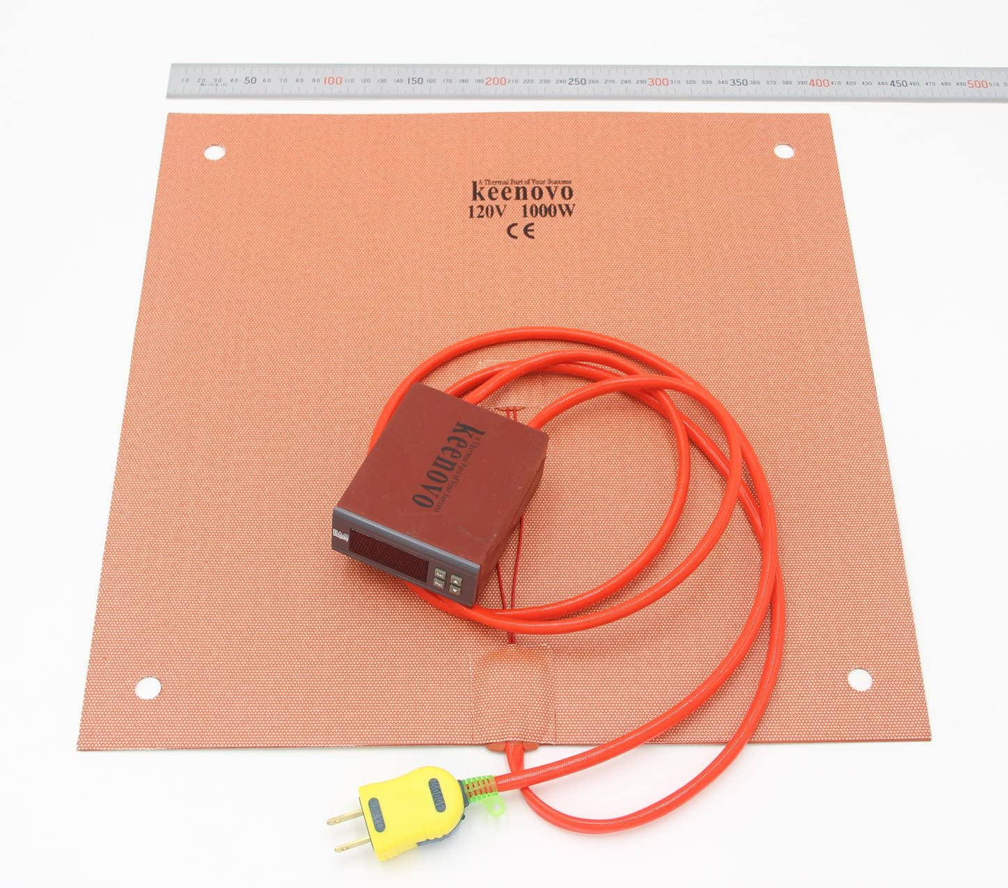 KEENOVO Silicone Heater 400x400mm 1000W for Creality CR-10 S4 3D Printer HeatedBed w/Digital Controller & Pre-made Screw Holes (120V)