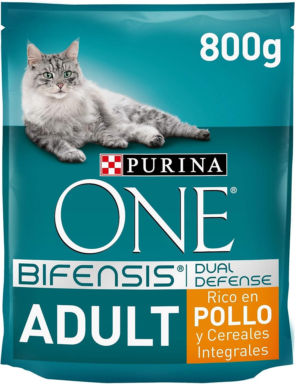 PURINA ONE Bifensis Pienso para Gato Adulto Pollo y Cereales 8 x 800 g