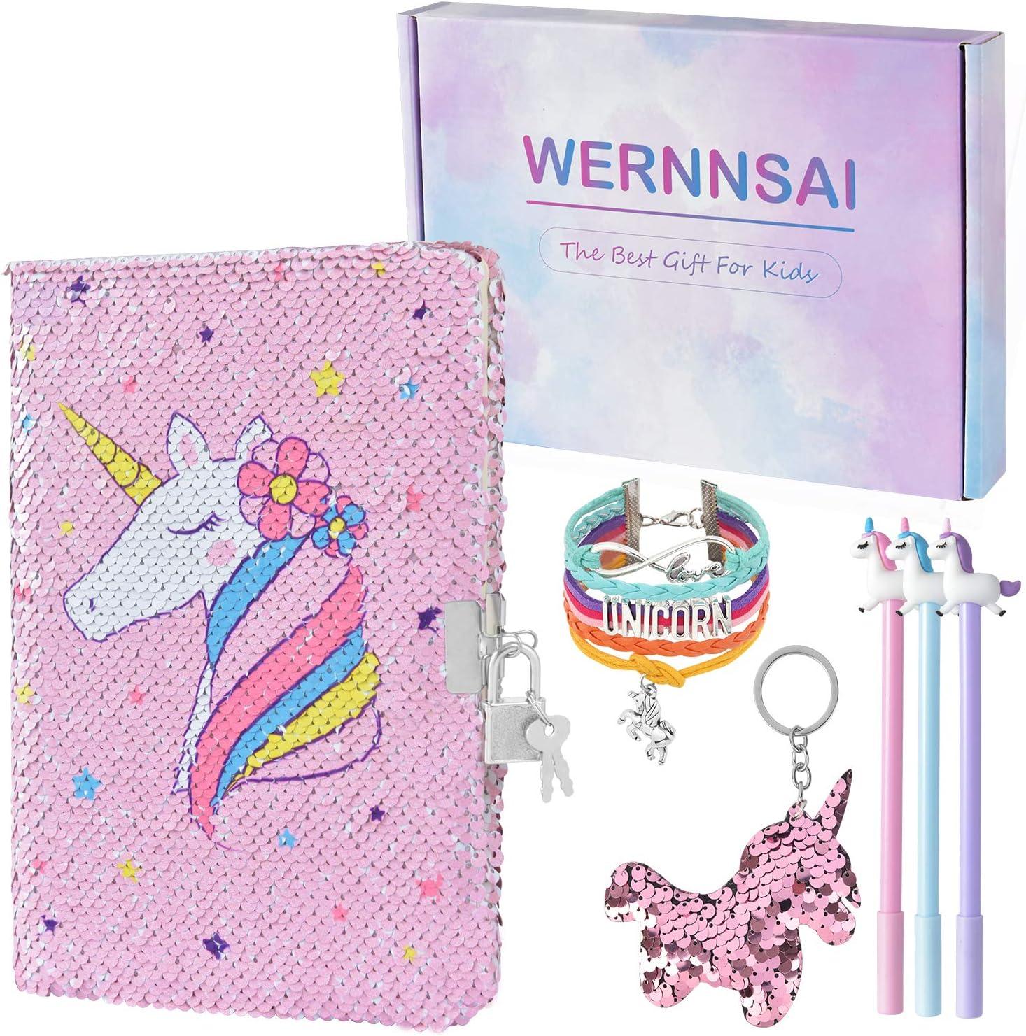 WERNNSAI Cuaderno Unicornio - A5 Bloc de Notas Regalos para Niños Diario de Lentejuelas libretas Bolígrafo Pulsera Llavero con Cerradura y llaveb