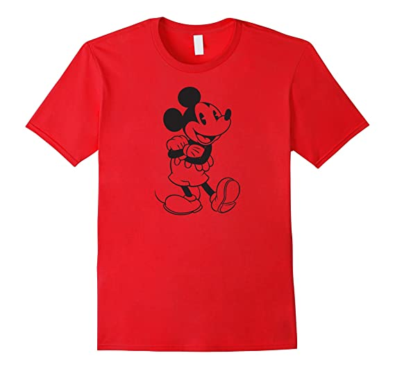 Mens Disney Mickey Mouse Outline T Shirt 2XL Red