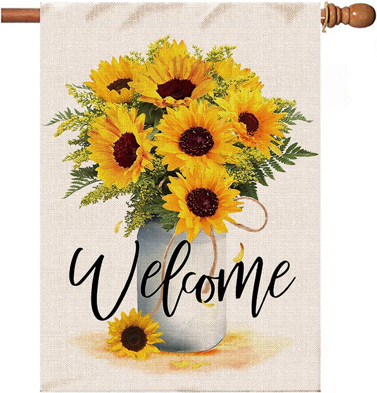 Hexagram Sunflower Arrangement Vase Welcome Flag,Burlap House Flag 28x40 Double Sided,Large Yard Flag,Summer Fall Farmhouse Outdoor Welcome Garden Decoration