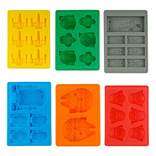 Silicone Ice Tray Moulds in Star Wars Character Shapes, Ideal for Chocolate, Ice Cubes, Jelly, Sweets, Desserts, Baking Soap and Candle Making - Set of 6