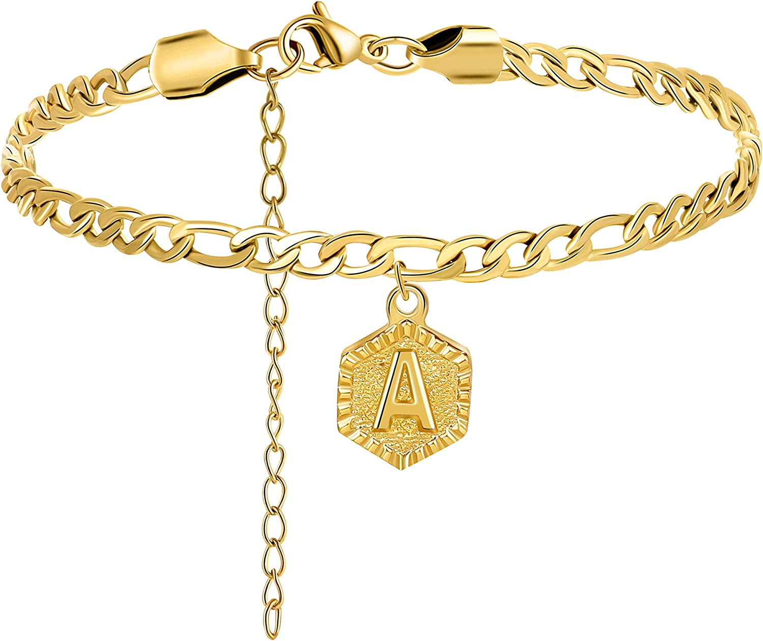 Joycuff 18K Real Gold Plated Figaro Chain Initial Letter Anklets for Women Teen Girls Bridesmaid Fashion Ankle Bracelet with 26 Alphabets Personalized Beach Foot Jewelry with Extension