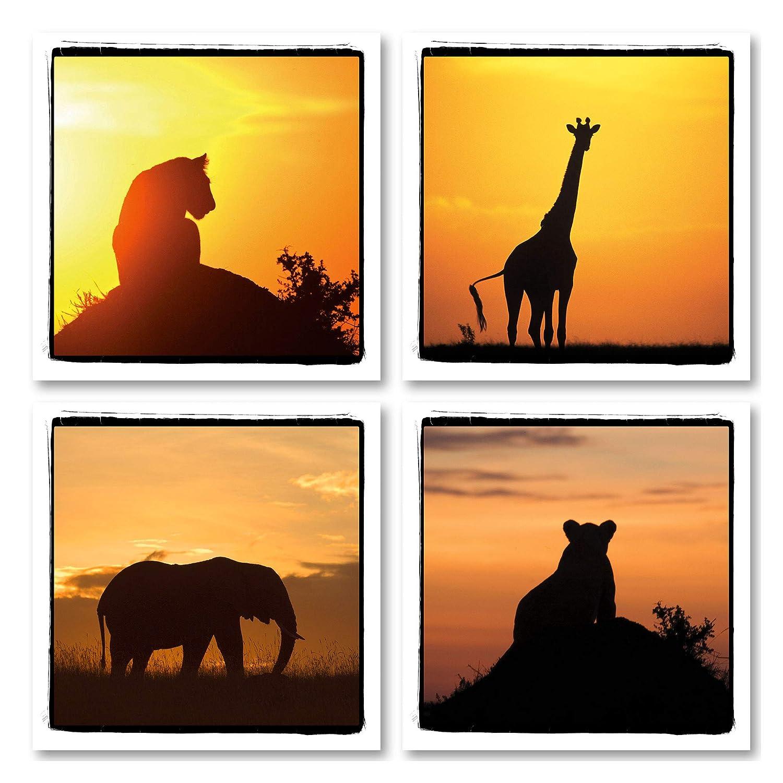 4 African Safari Animals Silhouettes At Sunset Giraffe