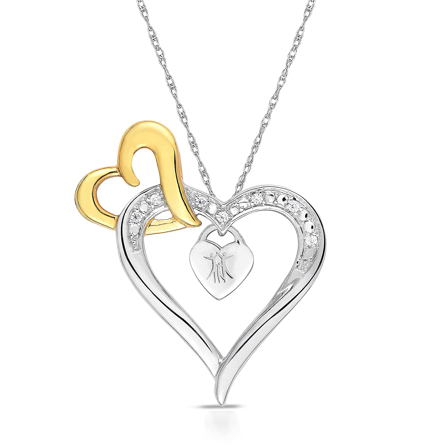 BLOWOUT SALE City of Hope 14K Yellow Gold Plated Sterling Silver Diamond Three Hearts of Survival Necklace 1//20 cttw, 18-19 Inch
