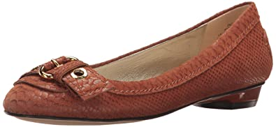 Anne Klein Women's Mady Reptile Loafer Flat, Medium Brown, ...
