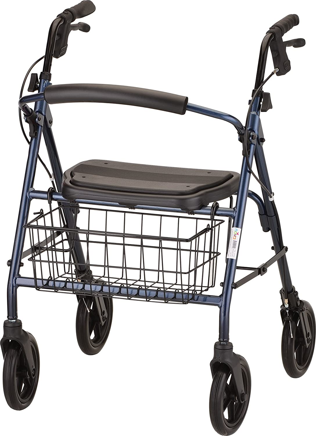 """NOVA Mack Bariatric Rollator Walker, 400 lb Weight Capacity, Heavy Duty with Extra Wide Seat, 23"""" Seat Height, Blue"""