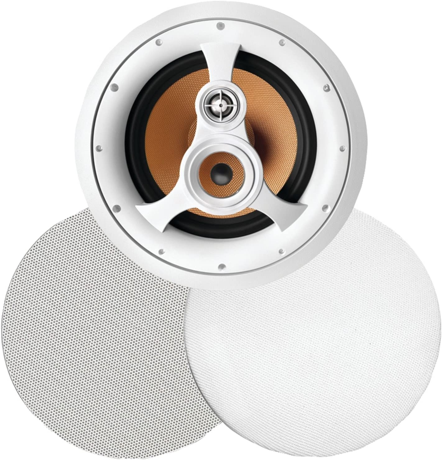 """250W 3-Way 10"""" in-Ceiling Speaker with Pivoting Tweeter and Midrange, Metal and Cloth Grills"""