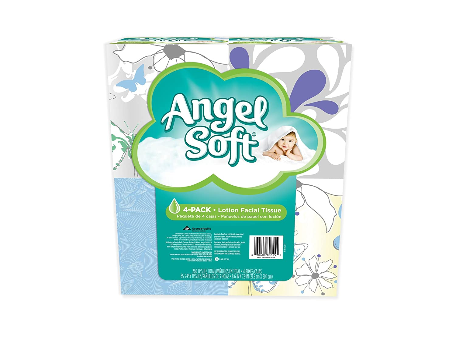 Amazon.com: Angel Soft Lotion Facial Tissue, 4-Boxes, White, 65ct. each (Packaging May Vary): Health & Personal Care