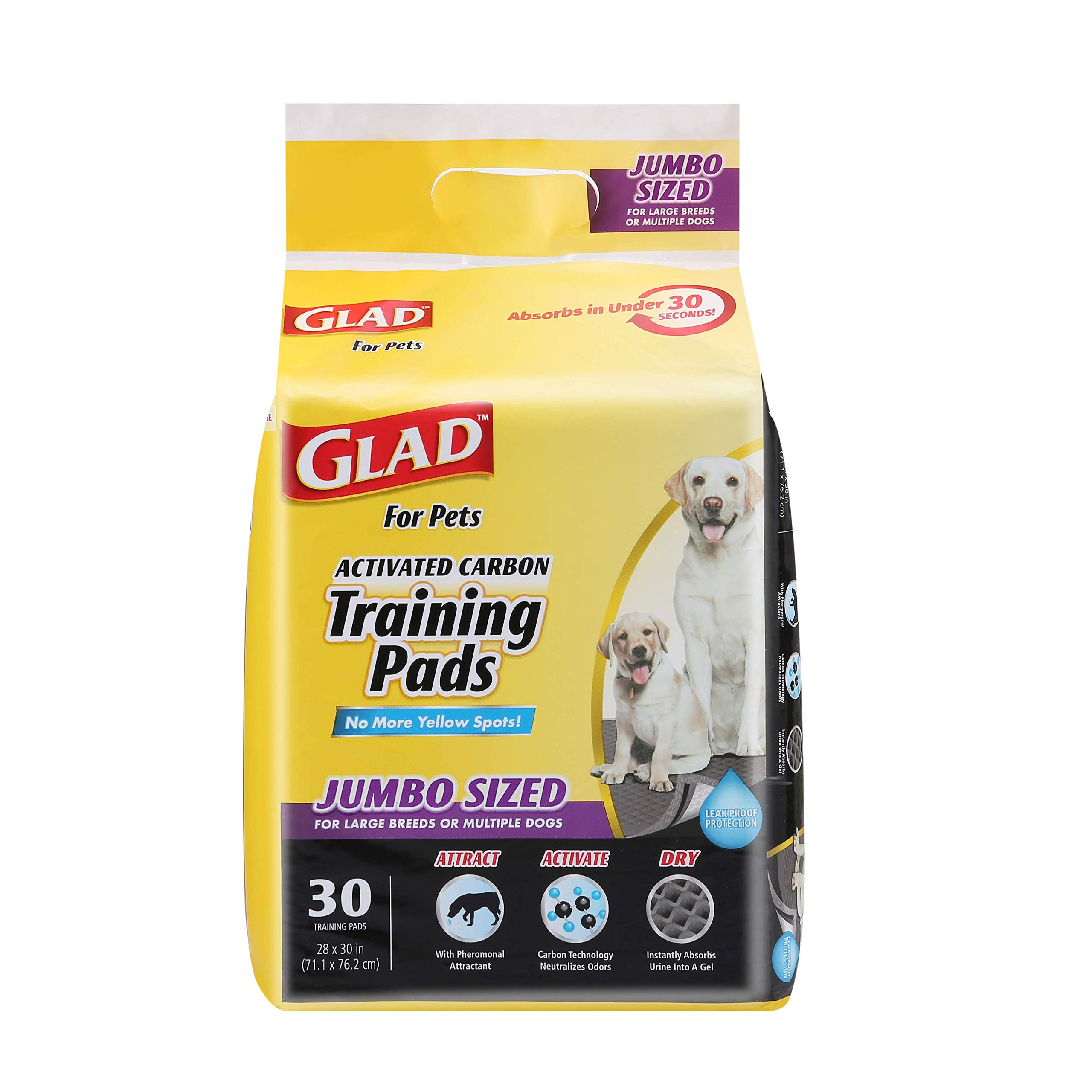 Glad for Pets JUMBO-SIZE Charcoal Puppy Pads | Black Training Pads That ABSORB & Neutralize Urine Instantly | New & Improved Quality Puppy Pee Pads, 30 Count