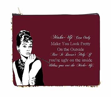 Amazoncom Audrey Hepburn Makeup Quote In Vintage Burgundy 2 - Audrey-hepburn-makeup