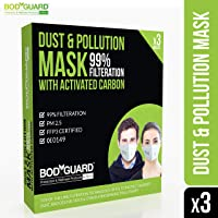 BodyGuard PM 2.5 Anti Dust & Pollution Face Mask with Exhalation Valve, Upto 99% FFP3 Level Filtration Technology with Activated Carbon for Men and Women - Pack of 3