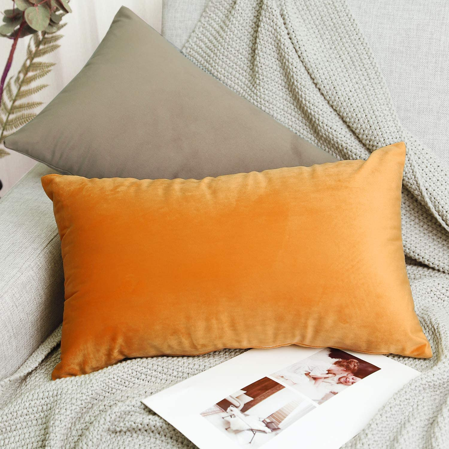 2 Pack Modern Solid Color Square Decorative Throw Pillow Case Cover for Car Sofa Bed Couch Home Decor 12x20 Lewondr Velvet Soft Cushion Cover Coffee 30x50cm