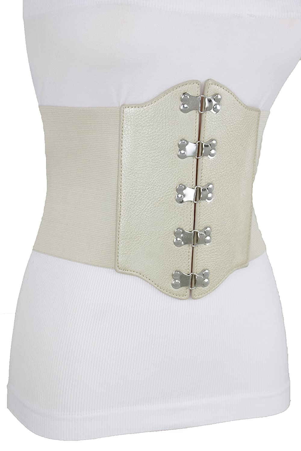 90b927201d TFJ Women Belt Hip Light Gold Corset Silver Buckles Metallic Beige Bling S M  at Amazon Women s Clothing store