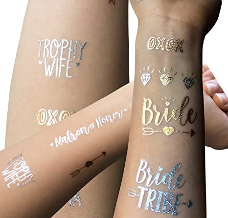 b9f508c4beb5e Amazon.com: Bachelorette Party Temporary Tattoo Collection - 82 Super Cute  and Fun Gold & Silver Flash Tattoos - Perfect Party Favors for Your Bride  Tribe!