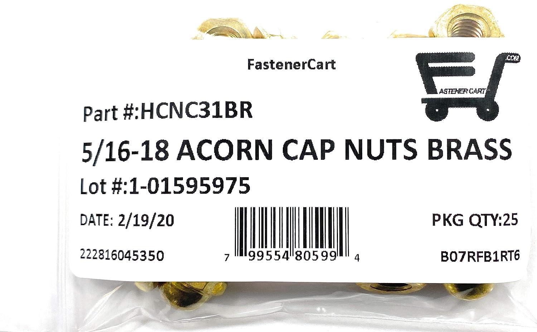 5//16-18 Acorn Cap Nuts Solid Brass 25 Pieces