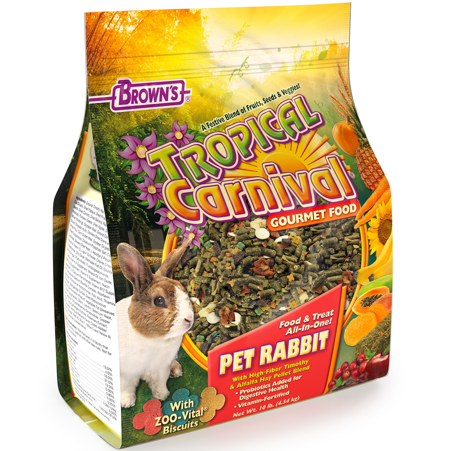 F.M. Brown's Tropical Carnival Gourmet Pet Rabbit Food with High-Fiber Timothy and Alfalfa Hay Pellets - Probiotics for Digestive Health, Vitamin-Nutrient Fortified Daily Diet by Tropical Carnival