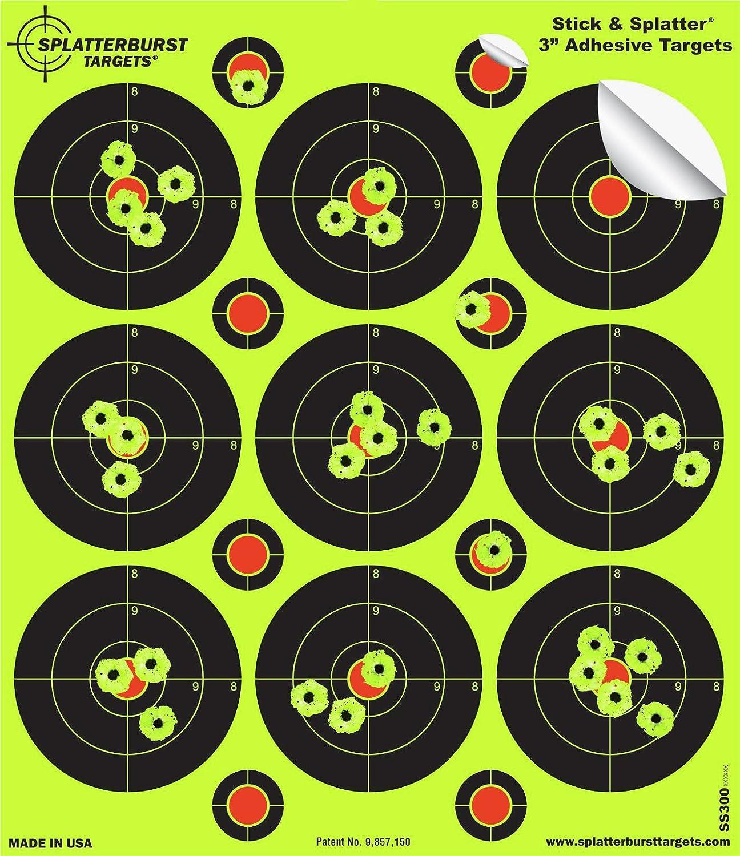 25unidades–3 Stick & salpicaduras adhesivo splatterburst meta–al instante ver tus fotos ráfaga Bright amarillo fluorescente a efectos. Splatterburst Targets Inc