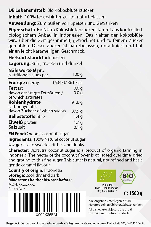 a635f0eb7a BioNutra Kokosblütenzucker Bio 1000 g braun, Kokoszucker, nicht raffiniert,  natürlicher Blütenzucker aus kontrolliert biologischem Anbau.