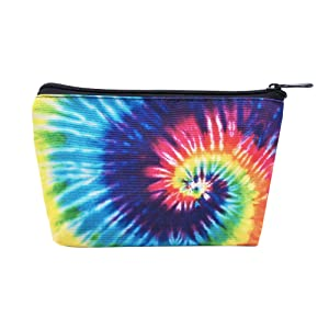 LOKIDVE Women's Tie Dye Rainbow Cosmetic Bag Portable Outdoor Makeup Pouch Case Organizer Small Toiletry Bags