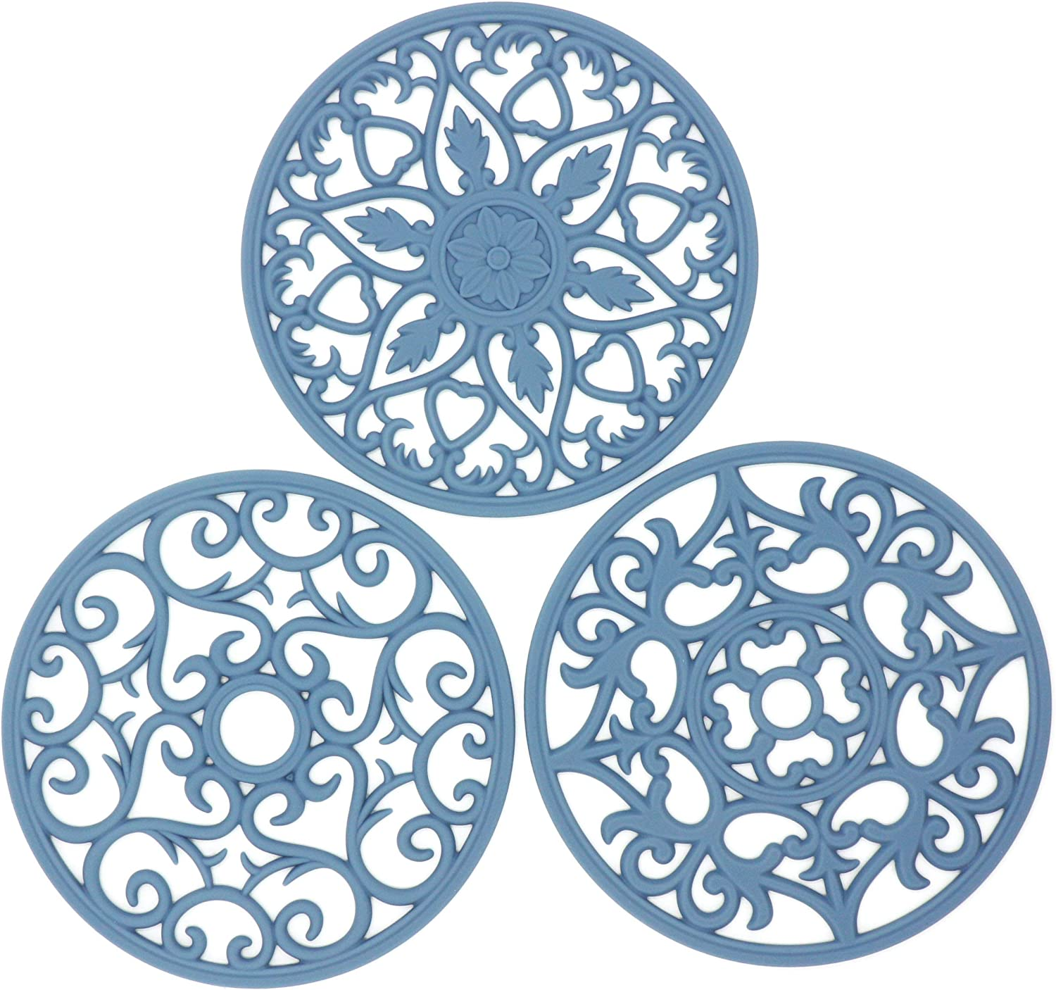 Smithcraft Blue Silicone Trivets for Hot Dishes, Pot Holder for Pots and Pans,Heat Pads for Kitchen Counter,Hot Mats,Multi-Use Intricately Carved, Flexible, Non-Slip, Pack 3