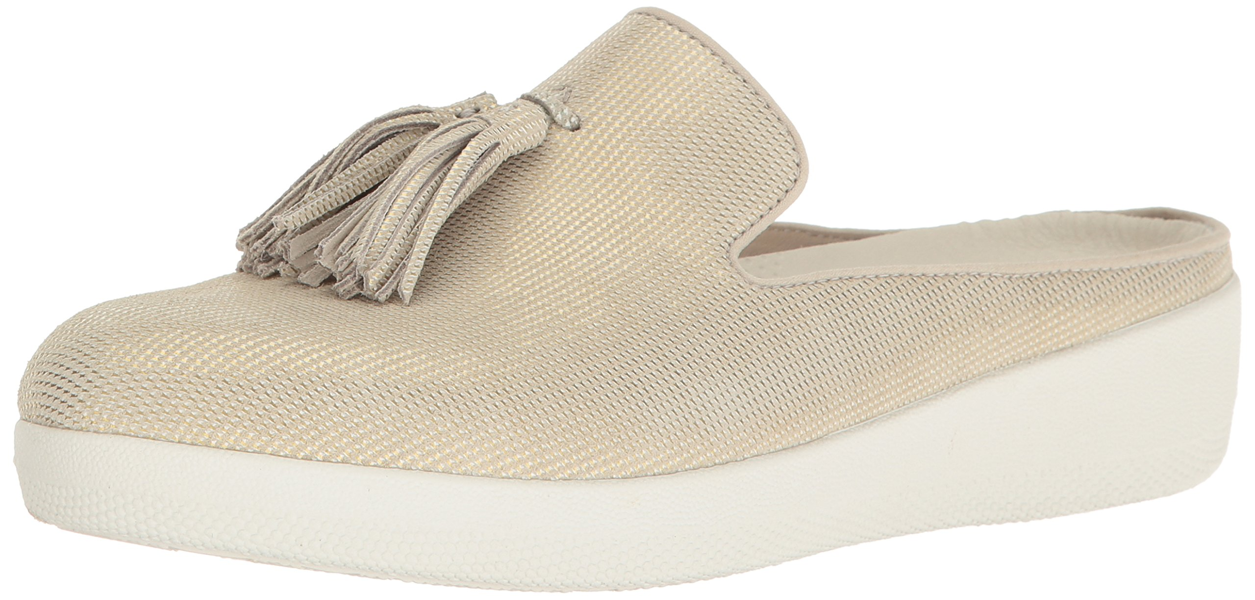FitFlop Womens Houndstooth Print Superskate Slip-On Loafer, Cream, 8 M US