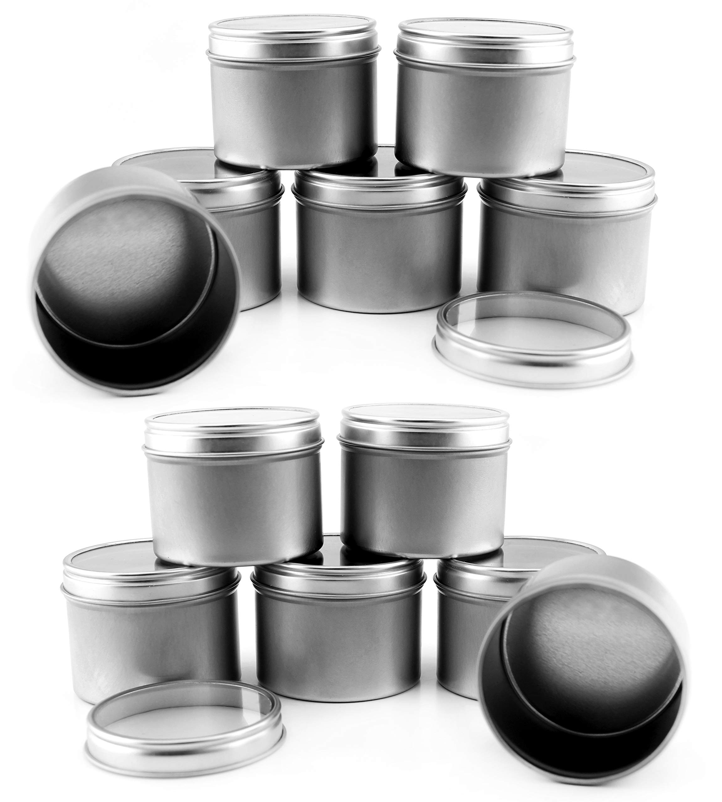 4-Ounce Round Metal Tins w/View Window Lids (12-Pack); Silver Tins w/Clear Lids