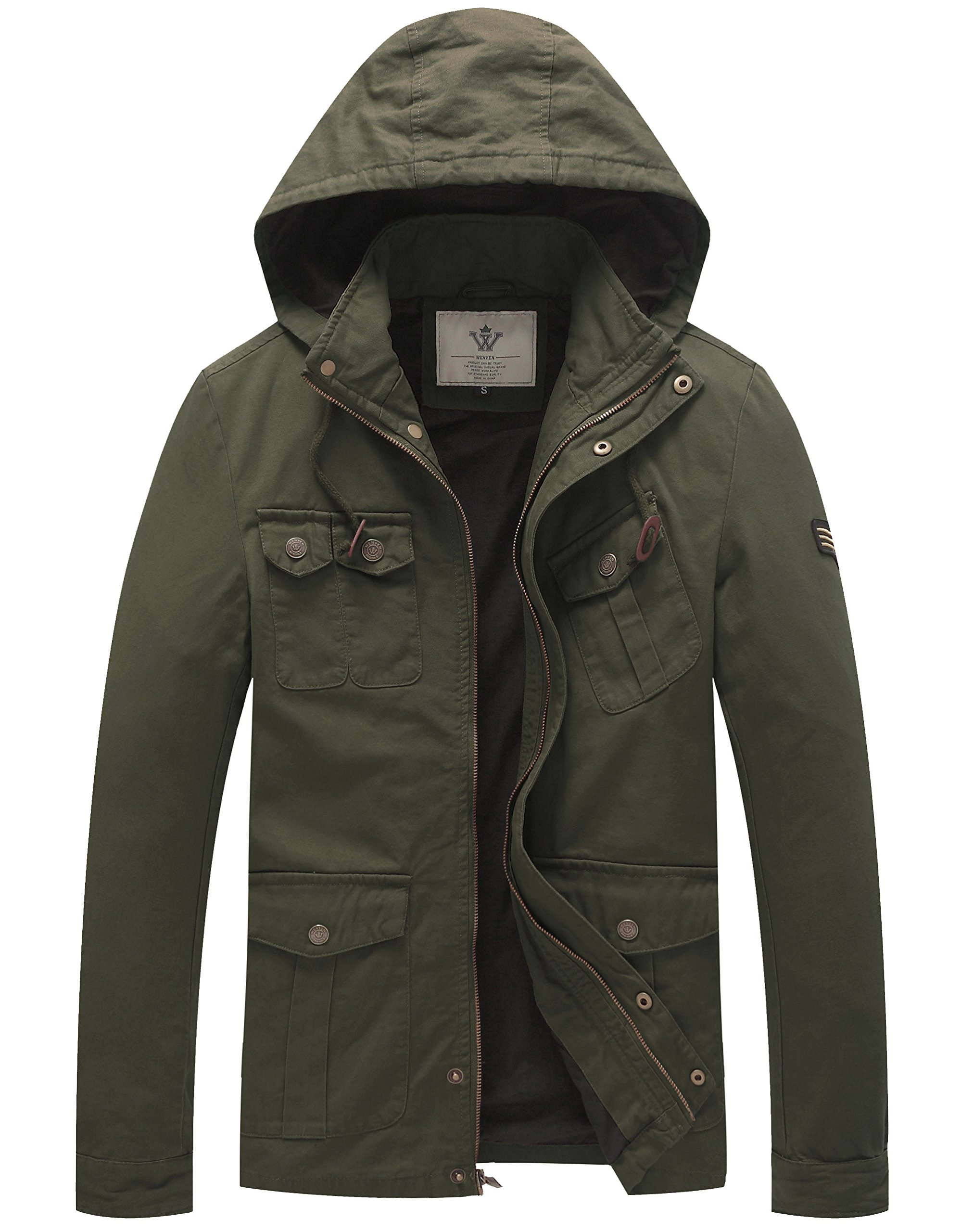 WenVen Men's Hooded Cotton Military Jackets (Military Green, Small)