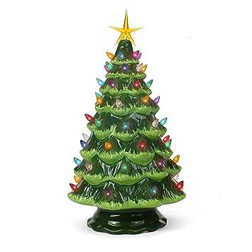 Vintage Ceramic Christmas Tree.Ceramic Christmas Tree Tabletop Christmas Tree Lights 15 5 Large Green Christmas Tree Multicolored Lights Lighted Vintage Ceramic Tree