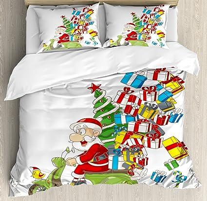 Amazoncom Ambesonne Christmas Duvet Cover Set King Size Santa On