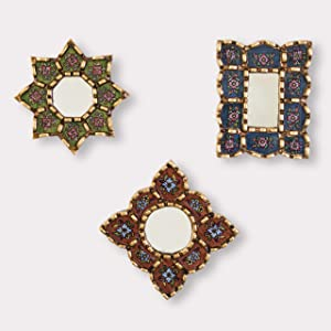 Small Decorative Wall Mirror set of 3 - Accent mirrors of 6in for wall decor, Peruvian Mirrors Vanity with bronze leaf 'Treasures'