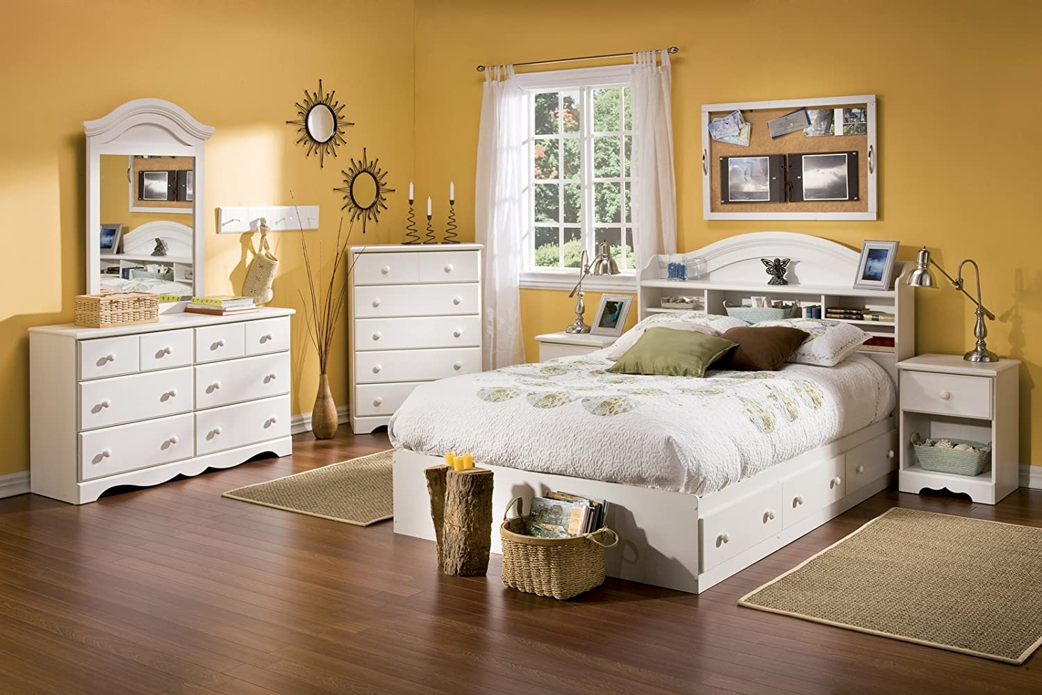 white full bedroom set. Amazon com  South Shore Summer Breeze Collection 6 Drawer Dresser White Wash Kitchen Dining