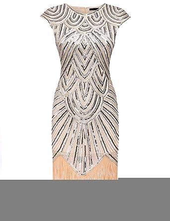 Kindsells Art Deco Dress Plus Size Sequined Dress Blue Party ...