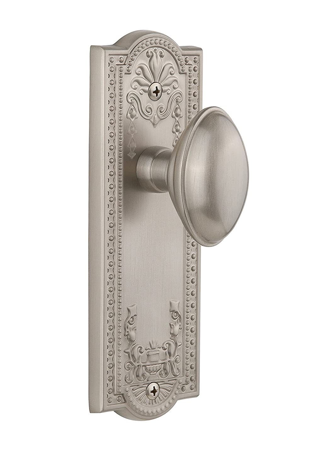 Grandeur Parthenon Plate with Eden Prairie Knob Satin Nickel Double Dummy