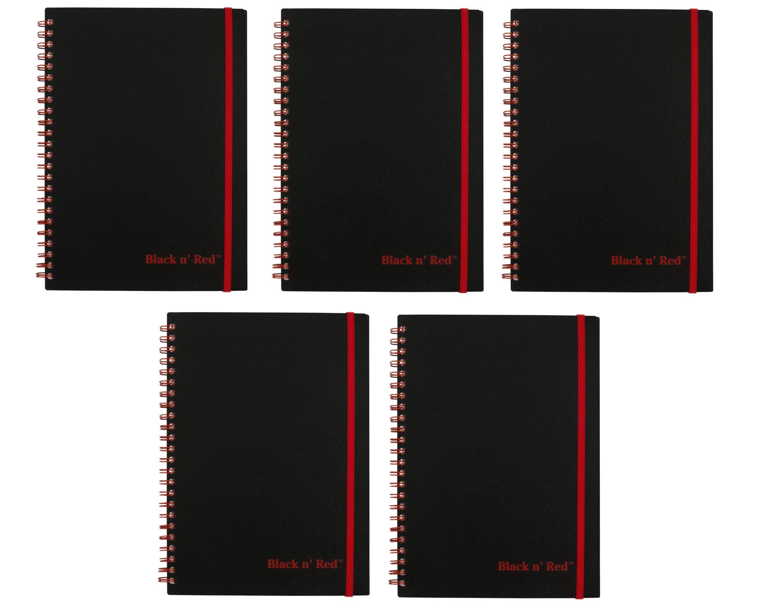 Black n' Red Twin Wire Poly Cover Notebook, 8-1/4'' x 5-7/8'', Black/Red, 70 Ruled Sheets, Sold as 5 Pack (C67009)
