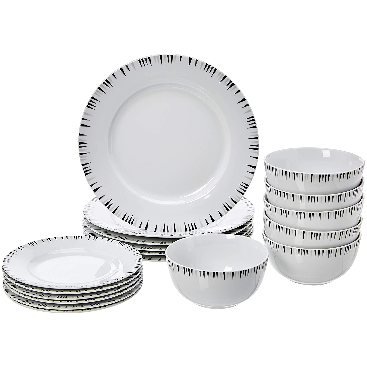 AmazonBasics 18-Piece Kitchen Dinnerware Set, Dishes, Bowls, Service for 6, Bungalow