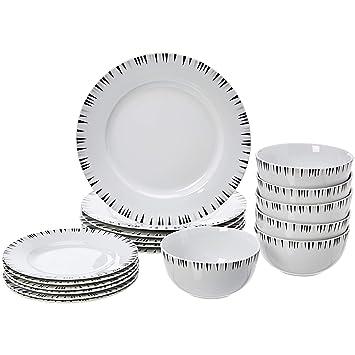 AmazonBasics 18-Piece Kitchen Dinnerware Set, Dishes, Bowls, Service for 6,  Bungalow