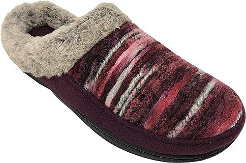 New Womens DEARFOAMS Velour Faux Fur Memory Foam Slippers Small 5-6 Medium 7-8