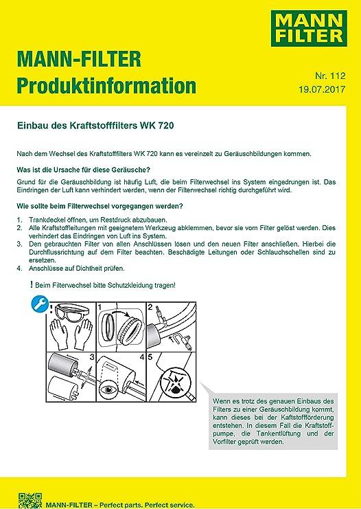 Original Mann Filter Kraftstofffilter Wk 720 Kraftstofffilter Satz Mit Integriertem Druckregler 3 8 Bar Für Pkw Auto