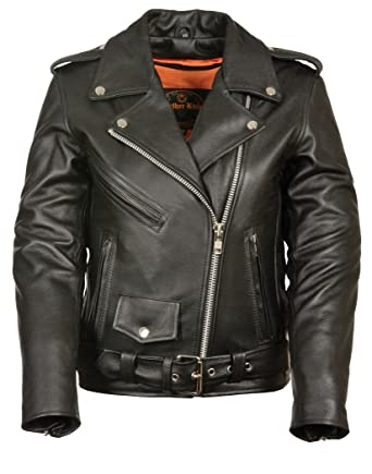 Amazon.com  Ladies Leather Motorcycle Leather Jacket Plain Sides  Clothing 165d3a648
