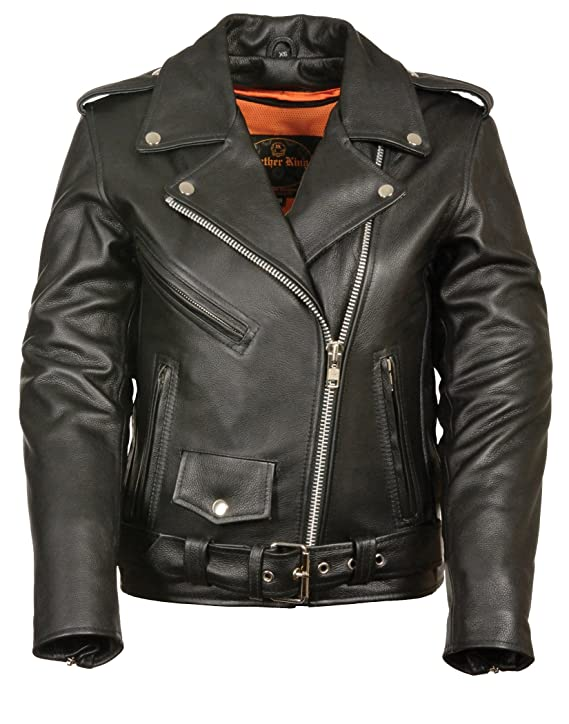 LC2701 Ladies Black Basic Classic Motorcycle Premium Leather Jacket with plain sides,X-Large