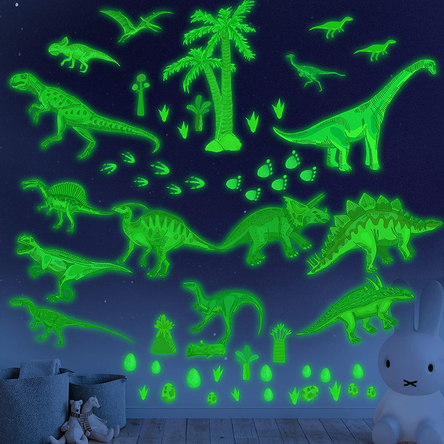 Glow in the Dark Dinosaur Wall Decals stickers for kids Bedroom,Dinosaur Wall Decals for Boys Room,Large Dinosaur Wall Decor Decorations for Nursery, Living Room,Classroom,Kids Birthday Christmas Gift
